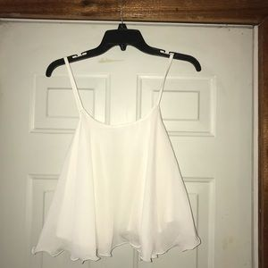 HTF New Fabulous White Flowing Tank Top sz S